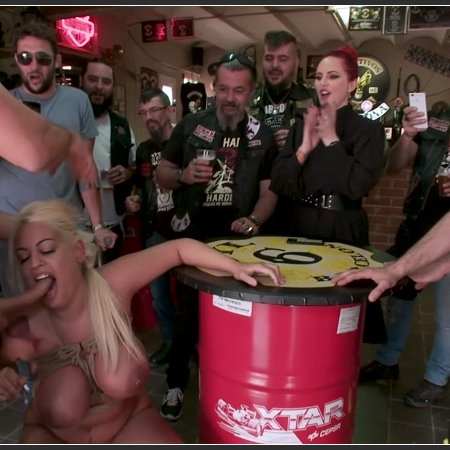 Busty Blonde Candela X Submits In Biker Bar | HD 720p